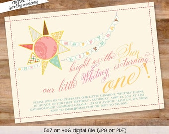 you are my sunshine birthday invitation brighter than the sun first communion baptism christening tea party little girl   230 Katiedid cards