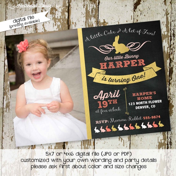 bunny birthday invitation girl picture ultrasound photo couples baby shower chalkboard gold foil coral pink easter | 281 Katiedid designs
