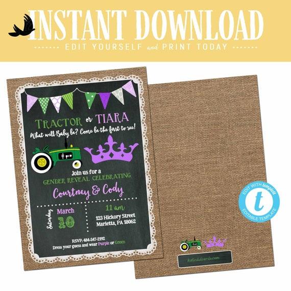 tractor or tiara gender reveal invitation baby shower neutral twin sprinkle couple burlap green purple editable chalkboard | 1403 Katiedid
