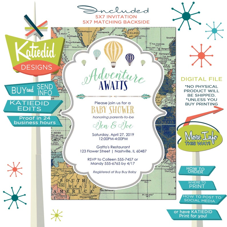 Adventure awaits baby shower invitation World map Hot air image 0