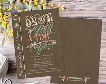 happily ever after couples baby shower invitation storybook once upon a time royal celebration coed two moms girl   1379 Katiedid designs