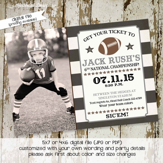 Birthday Football invitation picture photo boy gender reveal baby shower sprinkle sip see graduation couples coed gay | 270 Katiedid designs