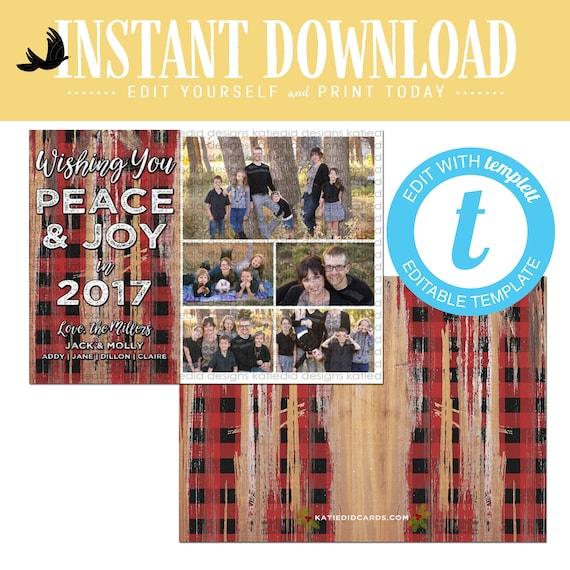 buffalo plaid christmas, christmas cards with photo, lumberjack rustic picture wood templett | 827 Katiedid