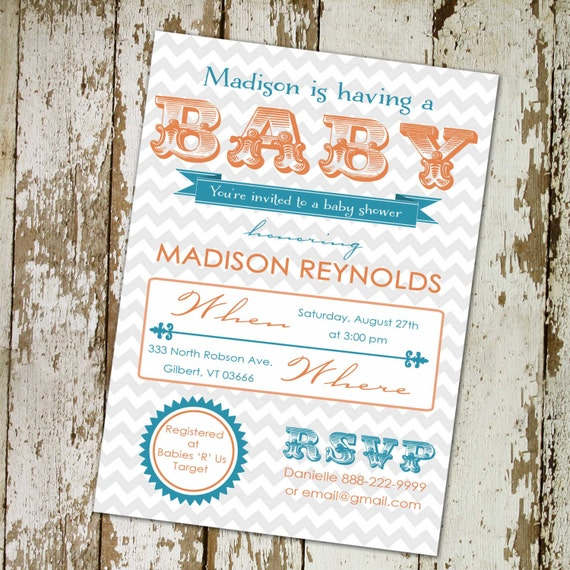 Twins baby shower invitation gender reveal typography chevron couples coed diaper wipes brunch sprinkle sip see neutral | 1417 Katiedid Card