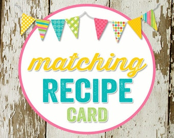 RECIPE CARD to match any design for baby shower or party, digital, DIY printable file katiedid designs cards