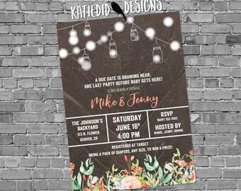 Couples baby shower invitation mason jar string lights mint coral diaper wipe floral gender neutral sprinkle sip & see coed   1485 Katiedid