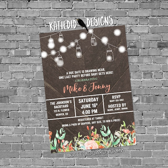 Couples baby shower invitation mason jar string lights mint coral diaper wipe floral gender neutral sprinkle sip & see coed | 1485 Katiedid