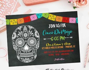 Fiesta Cinco de mayo Invitation tacos margaritas couples shower sugar skull bridal shower   366 Katiedid Designs