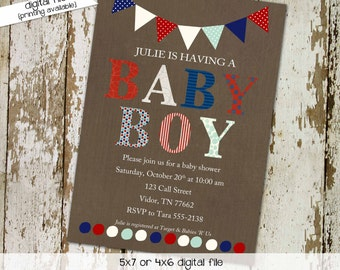 baby boy shower invitation twins patriotic birthday red white blue army military 4th of july couples coed sip see sprinkle   1233 Katiedid