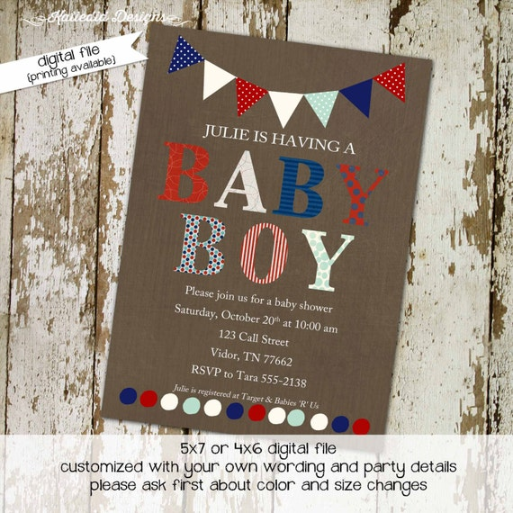 baby boy shower invitation twins patriotic birthday red white blue army military 4th of july couples coed sip see sprinkle | 1233 Katiedid