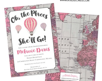 Adventure Awaits Hot air balloon travel theme baby shower invitation girl world map oh the places you'll go birthday | 1309 Katiedid Designs