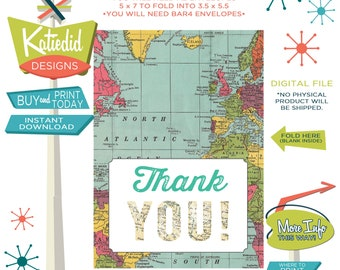 world map baby shower Travel Themed oh the places you'll go Adventure Awaits folded THANK YOU CARD notecard party favor 1294 Katiedid Design