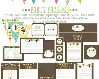little boy 1st birthday monkey theme co-ed baby shower party package diaper wipe brunch gender reveal party game wishes 126 Katiedid Designs