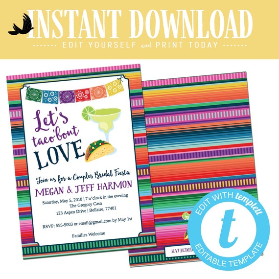 fiesta bridal shower invitation stock the bar I do BBQ engagement party taco margarita love rehearsal dinner couples editable | 305 Katiedid
