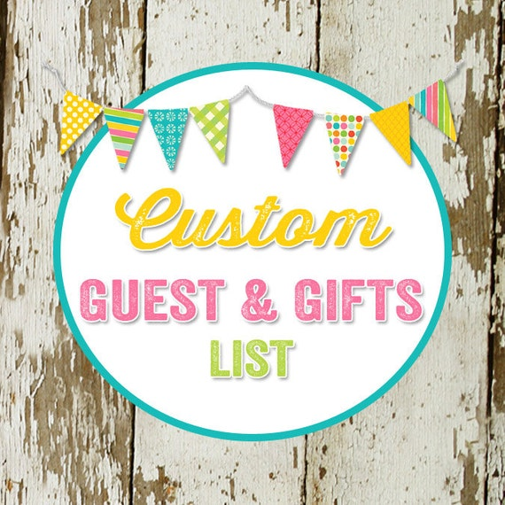 GUEST and GIFT LIST to match any design for baby shower or party, digital, printable file katiedid designs cards