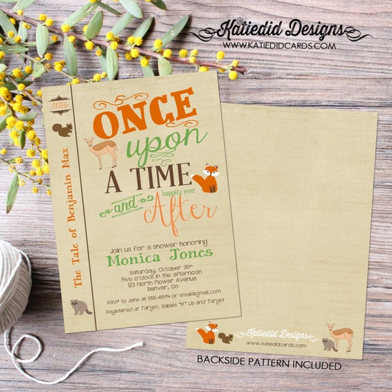 woodland baby shower invitation once upon a time storybook library theme books brunch boy sprinkle coed couples fox | 1245 Katiedid Designs