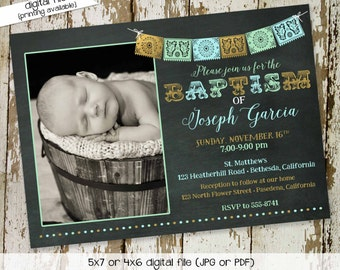 fiesta baby shower invitation spanish baptism announcement first communion christening picture ultrasound pregnancy coed   711 katiedid card
