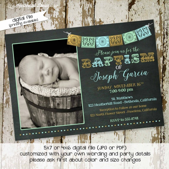 fiesta baby shower invitation spanish baptism announcement first communion christening picture ultrasound pregnancy coed | 711 katiedid card
