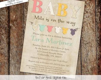 Gender reveal invitation neutral couples baby shower coed onesie bunting banner twins diaper wipes brunch sip see LGBT | 1443 Katiedid Card