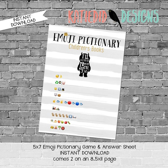 emoji pictionary children's books baby shower game where the wild things are rumpus gold gray stripe gender reveal boy | 296 Katiedid design