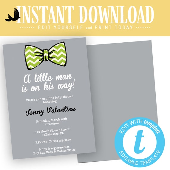 little man bow tie baby shower invitation editable boy gentleman first 1st birthday diaper wipes brunch couples coed | 1266 Katiedid Cards