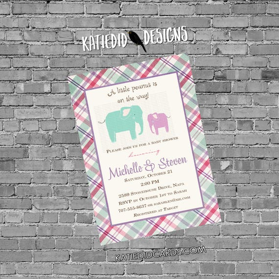 elephant baby shower invitation girl 1st birthday diaper wipes brunch safari purple plaid sprinkle sip see baptism | 139e Katiedid Designs