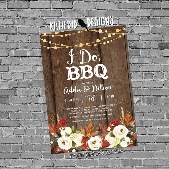 autumn fall rehearsal dinner invitation Couples Shower bridal wood string light I do BBQ engagement party coed white flowers | 377 Katiedid