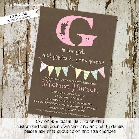baby shower invitation girl printable couples coed sprinkle sip see bunting banner rustic twins diaper wipes birthday | 1362 Katiedid Design
