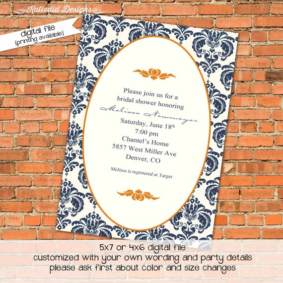 Couples shower Invitation stock the bar navy orange rehearsal dinner retirement party I do BBQ engagement wedding bridal | 313 katiedid card