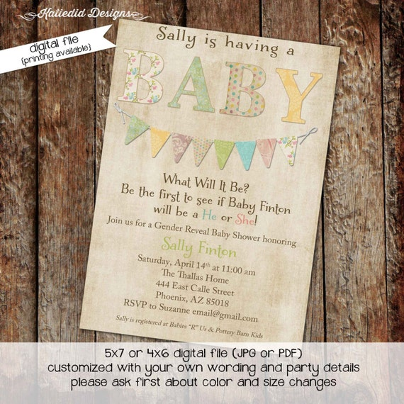 gender reveal invitation twins baby shower couples coed neutral sprinkle sip see rustic pastel bunting banner girl boy | 1435 Katiedid cards