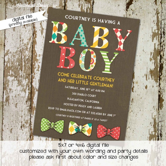 Mr onederful little man bow tie baby shower invitation boy gentleman birthday diaper wipes brunch couples coed retirement | 1217 Katiedid