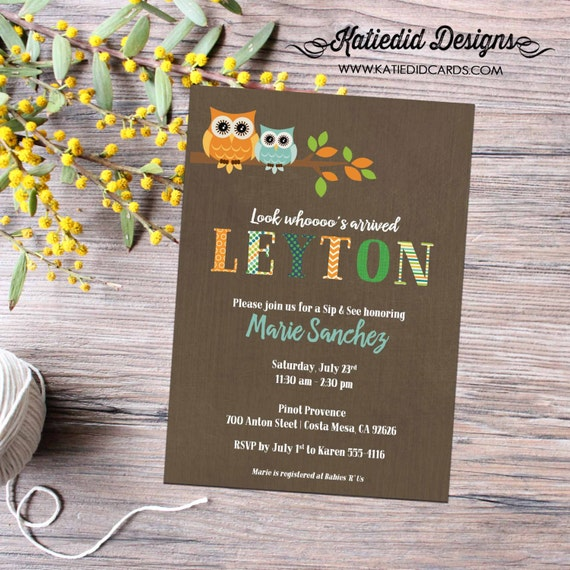owl baby shower invitation couples coed sprinkle sip see first communion baptism birthday boy birth announcement | 1236 Katiedid Designs