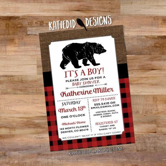 wild one bear birthday invitation lumberjack buffalo check plaid burlap rustic tribal arrow baby shower couples coed red | 1257b Katiedid
