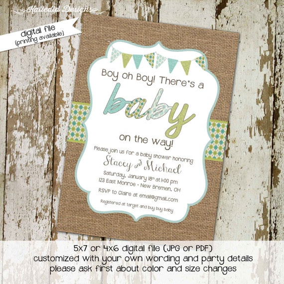 Gender reveal invitation neutral couples baby shower burlap boy twins green blue coed sprinkle sip see diaper wipes | 12107 katiedid designs