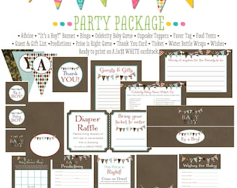 kraft paper rustic chic co-ed baby shower party package patriotic red white blue army camo camouflage bunting banner 1213 katiedid designs