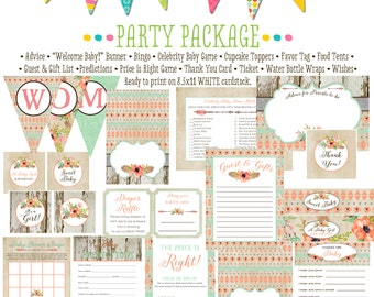rustic baby girl shower invitation boho baby shower tribal mint coral party package gender reveal party game bingo tag 1445 katiedid designs