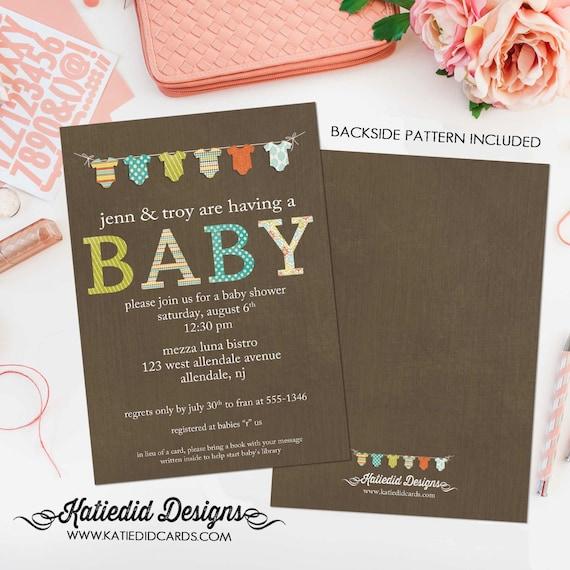 gender reveal invitation baby shower neutral boy girl onesie bodysuit bunting banner rustic couples coed diaper wipes | 1407 Katiedid Cards