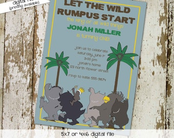 where the wild things are baby shower invitation one two boy girl gender reveal neutral rumpus birthday king monsters couples   272 Katiedid