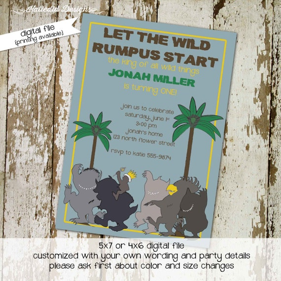 where the wild things are baby shower invitation one two boy girl gender reveal neutral rumpus birthday king monsters couples | 272 Katiedid