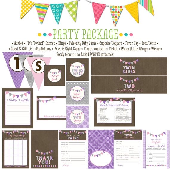 twin babies shower invitation surprise gender reveal co-ed baby shower party package gender reveal party game banner 1518 Katiedid Designs