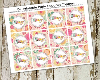 Cupcake toppers rustic baby girl shower invitation owl floral chic invite surprise gender reveal diaper wipe brunch 1352 Katiedid Designs