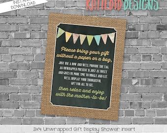 display shower insert | unwrapped gift enclosure card | he or she gender reveal | rustic shower gender neutral | 1410 1431 Katiedid Designs