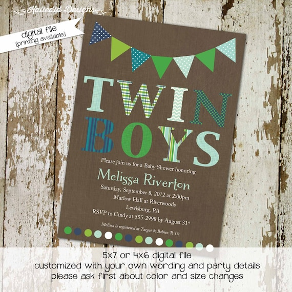 twins baby shower invitation couples coed rustic boy bunting banner diaper wipes sprinkle sip see brunch birthday gay | 1516 Katiedid design