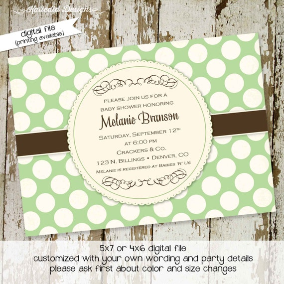 couples baby shower invitation gender reveal neutral diaper wipes brunch first communion announcement boy green coed | 1414 Katiedid Designs