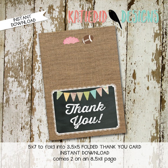 touchdowns or tutus gender reveal surprise gender burlap lace invite rustic chic THANK YOU CARD folded notecard football 1431 Katiedid Cards