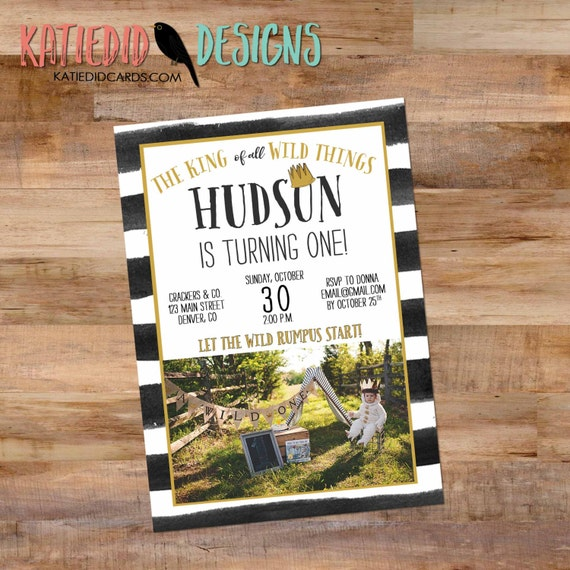wild one birthday boy where the wild things are invitation picture photo tribal black white stripe king crown baby shower | 295 Katiedid