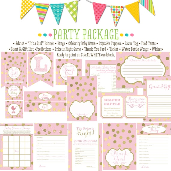rustic baby girl shower invitation little princess baby shower party package pastel pink gold foil polka dot banner 1307 Katiedid designs