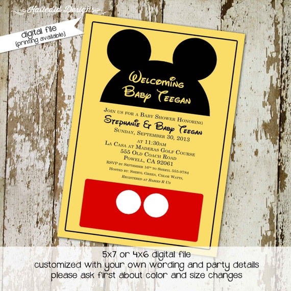 Disney baby shower invitation Mickey mouse birthday invitation Rustic shower invitations gender neutral Diaper Brunch | 1406 Katiedid Cards