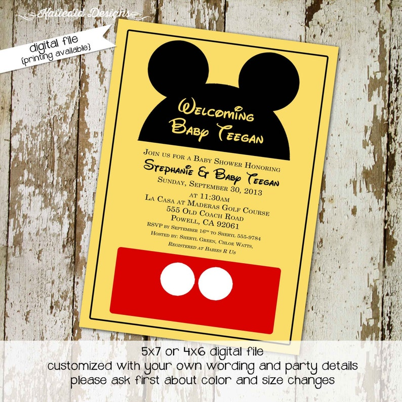 Disney Baby Shower Invitation Mickey Mouse Birthday