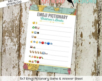 emoji pictionary children's books baby shower game Travel Theme adventure awaits oh the places you'll go world map   1294 Katiedid Designs